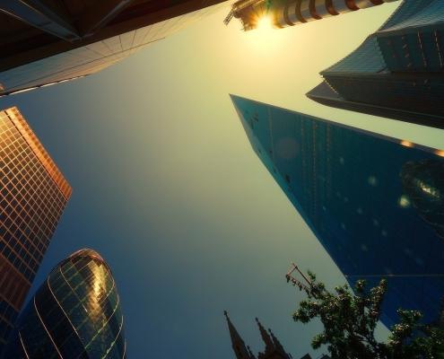 Rascacielos en el centro financiero de Londres